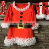 2014 new chirstmas baby girls santa clause dress with leg warmers and cotton headband set