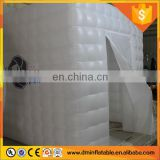 8x8x8' LED white inflatable with 3 doors inflatable photo booth/inflatable photobooth for advertising