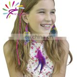 2015 new fashion DIY synthetic hair extension/feather necklace/ear rings set for kids