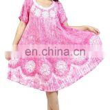 BATIK TIE DYE VISOCE RAYON FABRIC UMBRELLA DRESS WITH EMBROIDERY FREE SIZE