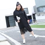 Large size net yarn splicing two pieces of hooded dress and fattening up the long sleeve skirt.