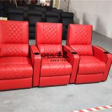 Genuine leather electric recliner theatre sofa,popular red color home theater sofa
