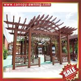prefabricated outdoor garden wood look style alu aluminium alu aluminum metal park gazebo grape trellis Pergola vine grids kits