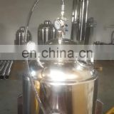 Ethanol extraction machine double jacketed tank with top opening and collection vessel for bho extraction system