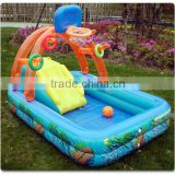pvc inflatable swimming pools with slide and basket