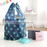 Striped Handbags Tote Environmental Folding Bags Shopping Bag
