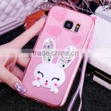 Cute rabbit pattern Soft silicon Kickstand back cover case Scratch-Resistant phone case for Samsung S7/S7 edge csae