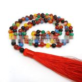 NE2141 Hand Knotted Agate 108 Prayer Beads Buddhist Mala                                                                         Quality Choice
