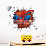 2015 3d Spiderman wall stickers for kids rooms decals home decor personalized Kids Nursery Wall sticker decoration for Boy room