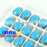 China glass rhinestone sew on setting, blue opal colour glass beads, crystal stone for dressing