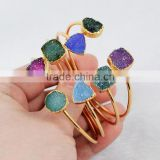 10mm double druzy gold two raw agate druzy gemstones cuff bangle