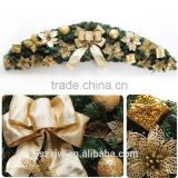 Christmas Decorative wreath with one gold ribbon butterfly and flower                                                                         Quality Choice