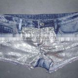 Newest ladies shorts with shiny beaded (DS120164)