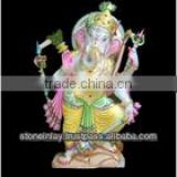 Marble Ganesh Statue with Riddhi siddhi