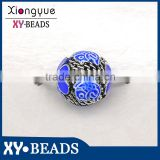 15mm round football design Stainless Steel bead jewelry findings