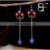 DIY Retro Elegant Women's Drop Earrings with red blue stone