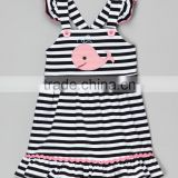Children summer maxi dress baby girl stripe whale dress cotton jersey cross back frocks