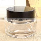 150ml glass jar with black lid for body scrub packaging, vintage glass jar