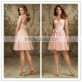 Fashion dress China manufacture Real sample peach colour bridesmaid dress pattens 2015 ( BDAL-5009)