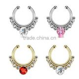 Stainless Steel Clip On Fake Septum Clicker Non Piercing Nose Ring Hoop