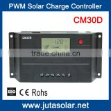 JUTA 30A Solar Charge Controller 12V 24V Auto PWM Charging with USB and LCD Display