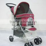 2015 pet stroller with 3 point canopy with game entrance window,the front wheels have shock absorption