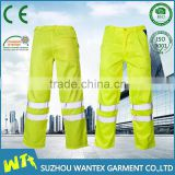 Fluo yellow safety working pants reflective working trousers polyester spring or autumn pants for worker