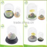 3::: bell jar * cover * cake * flower clear cloches jewelry cover // Large metal & wooden base with decorative mini glass dome