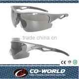 Semi-box type sports glasses, comfortable leather change and gloves, lenses uv400, Made in Taiwan