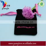 Black Velvet Hand Embroidery Bags with Ribbon Strings