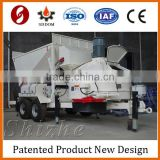 MB1200 Mobile concrete batching plant with screw conveyor, big bag cement silo and belt conveyor