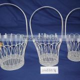 White round wire storage gift hanging baskets with long handle