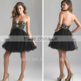 black beading porn evening sleeveless short tulle prom dress