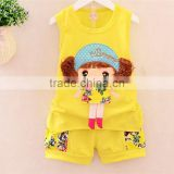 new style summer vest + short pants 2pcs children girl clothing sets wholesale baby girls mustard pie clothing set