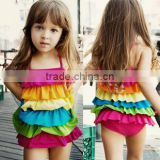 Beautiful girls Baby Swimsuit/Swimwear Children's swimwear six flouncing conjoined swimsuit rainbow baby girls bathing suit