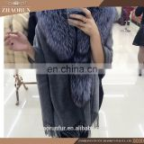 210cm x 70cm large size winter pashmina shawl / sheep fur cape with fox fur collar