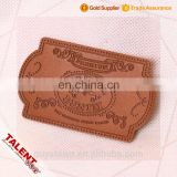 Custom thin cow skin hot stamping embossed pattern die cut shape leather label