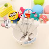 Creative silicone coffee Stainless steel spoon with lovely smile shape