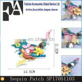 2017 The Most Popular Colorful Sequin Embroidery Patches Birds for Garment