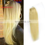8A Indian human virgin hair micro ring hair extension #613 cuticle aligned hair