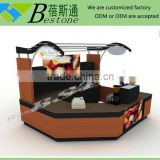 Custom made shopping mall juice kiosk, manufacture of bar counter wooden for juice store