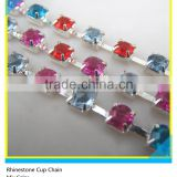Fashion Wholesale 6mm Colorful Crystal Silver Plated Rhinestone Brass Cup Chain Decorati