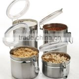 4-Piece canister sets kitchen canisters Stainless Steel Clamp Canister Set with Clear Lid
