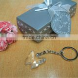 2013 Newest birthday party favors gifts Crystal Craft Chrome Key Chain with Crystal butterfly