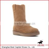 Fashion Women middle boot, suede leather rubber sole lady boot, light weight high leather shoes