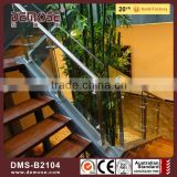 The spiral staircase frameless transparent glass railing