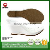 Lady high wedge leather wrap sandal sole pu sole
