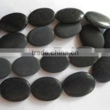Semi precious stone black stone frosted oval beads jewelry beads
