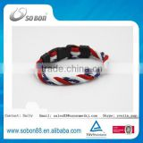 USA national flag silicone titamium bracelets magnetic fabric bracelet promotion gift new products 2016