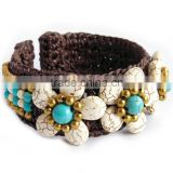 INQUIRY ABOUT MMCF499A010 Handmade in Thailand Handwoven Stone Beaded Bracelet Boho Fashion Jewelry Semiprecious Stone Summer 2016